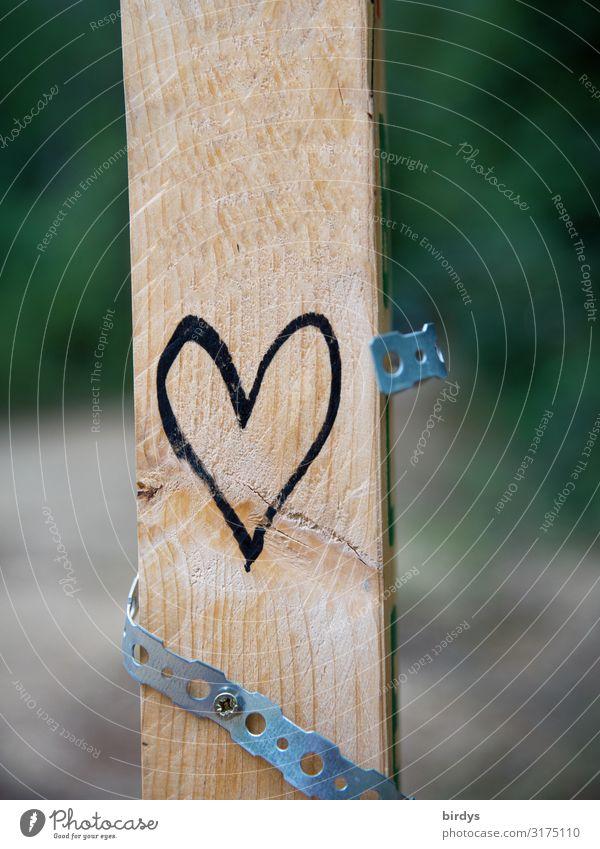 positive Zeichen setzen Holzbrett Metall Herz Schnur authentisch frei Freundlichkeit gelb schwarz Lebensfreude Freundschaft Liebe Verliebtheit Menschlichkeit