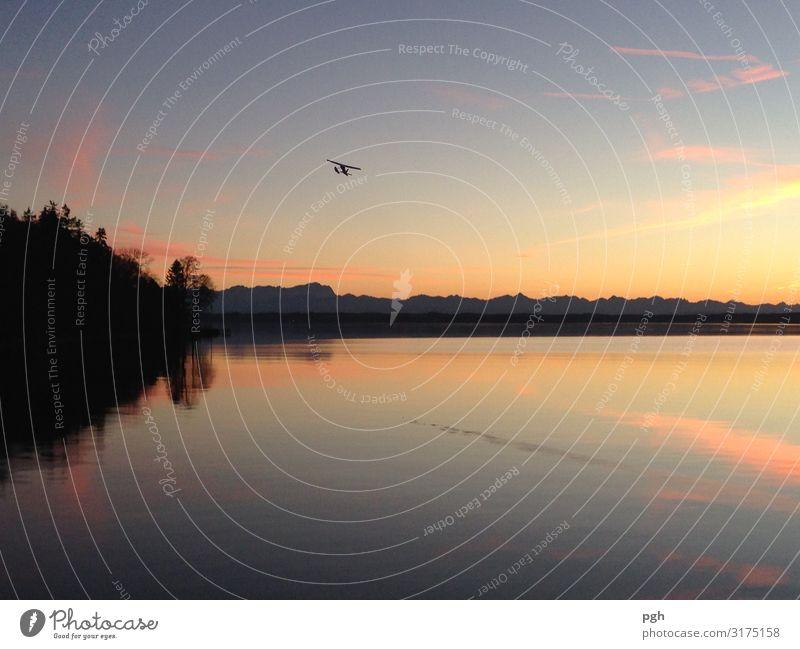 Flieger über dem Starnberger See Freude Sommer Schwimmen & Baden Landschaft Himmel Horizont Sonnenaufgang Sonnenuntergang Berge u. Gebirge Flugzeug
