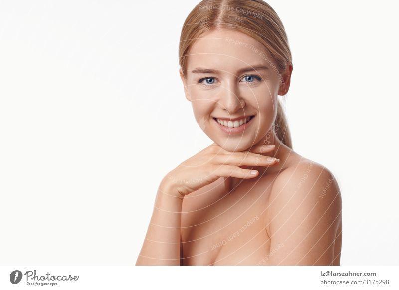 Schöne, gesunde, junge Frau voller Vitalität Glück schön Haut Gesicht Kosmetik Gesundheitswesen Wellness Erwachsene Frauenbrust 1 Mensch 18-30 Jahre Jugendliche