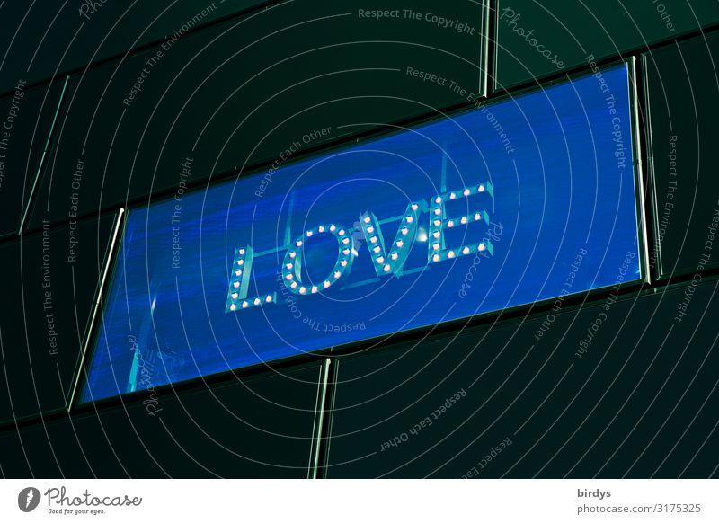 digital love Fassade Fenster Leuchtdiode Schriftzeichen leuchten authentisch außergewöhnlich modern positiv Stadt blau gelb schwarz Liebe Lust Sex Sehnsucht