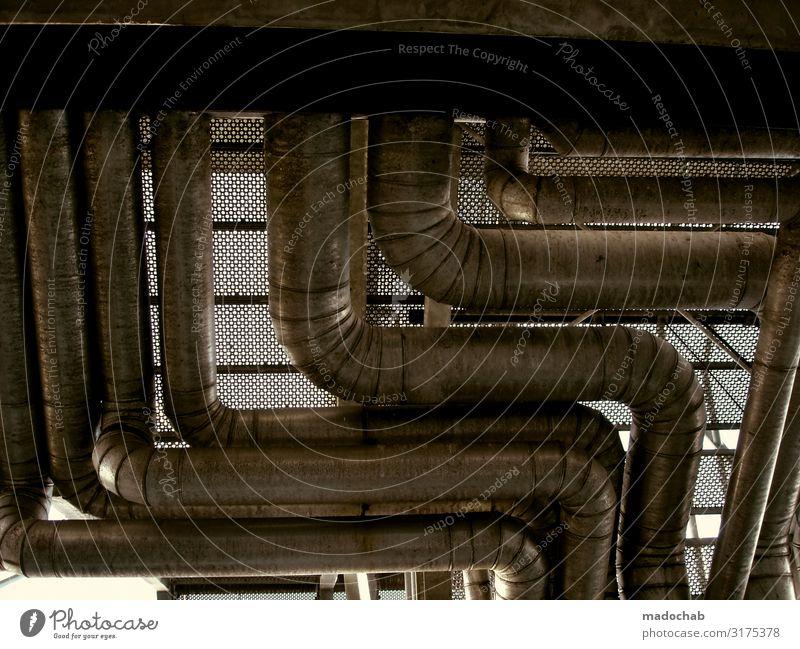 Rohrwurm Beruf Handwerker Fabrik Wirtschaft Industrie Energiewirtschaft Maschine Technik & Technologie Energiekrise Industrieanlage lang Röhren Rohrleitung rund