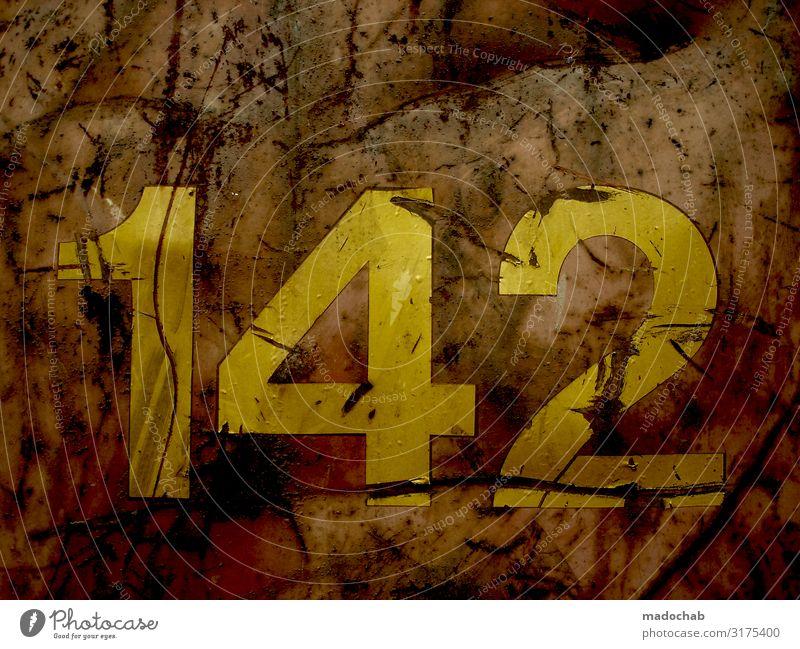 681 - 142 Ziffer Zahl Nummer zählen Rost Container Zeichen Ziffern & Zahlen alt authentisch hässlich kaputt trashig trist gelb orange standhaft trotzig Ewigkeit