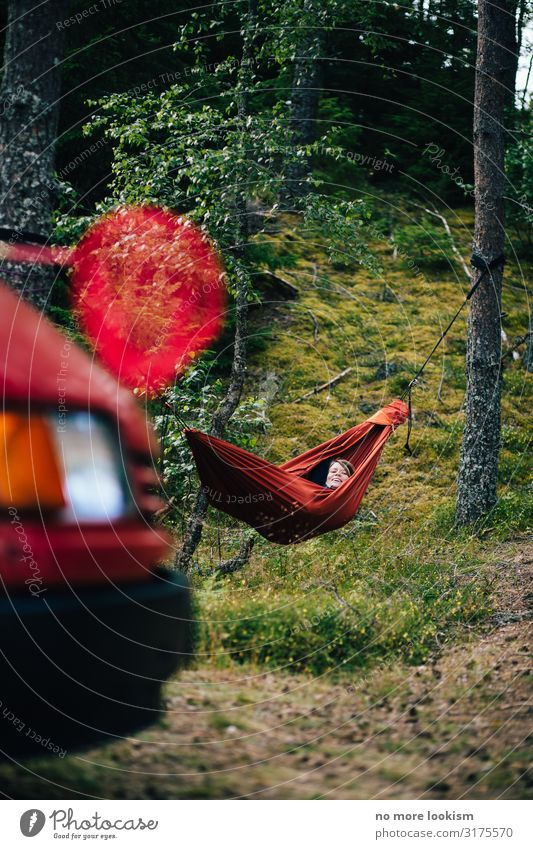 camper, hammock, landing net, all i ever wanted is red red red Lifestyle Freizeit & Hobby Ferien & Urlaub & Reisen Tourismus Ausflug Abenteuer Ferne Freiheit