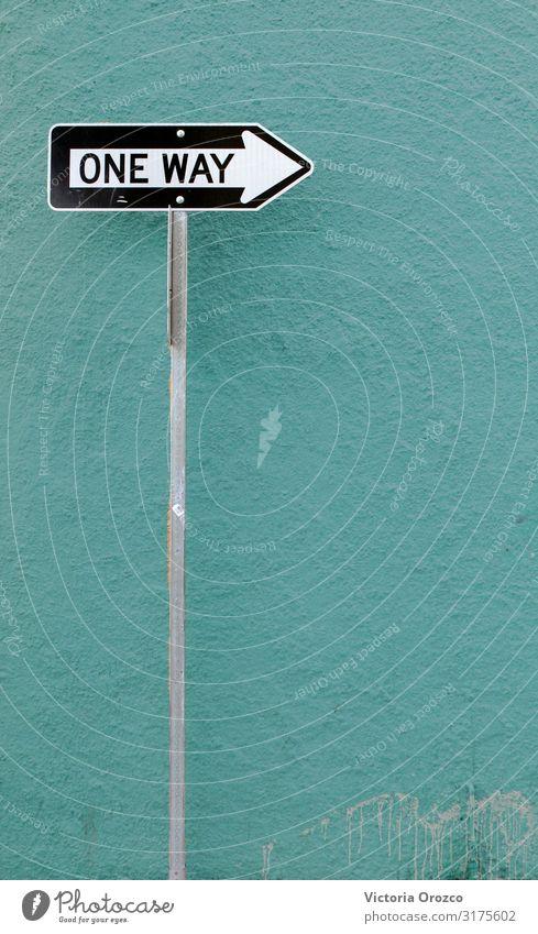 Einfache Fahrt Stadt Straße Verkehrszeichen Verkehrsschild Fahrzeug Metall Zeichen einfach modern türkis weiß Farbfoto Außenaufnahme Menschenleer Tag