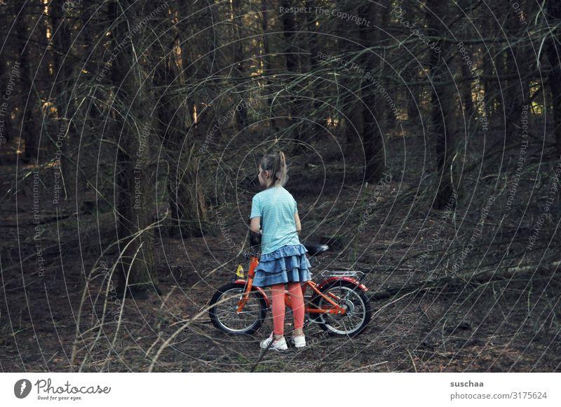 mädchen allein im wald Kind Mädchen Unterholz Wald Baum Ast Waldboden dunkel Einsamkeit einzeln Rock Rotkäppchen verirrt verloren Suche Fahrrad Fahrradtour