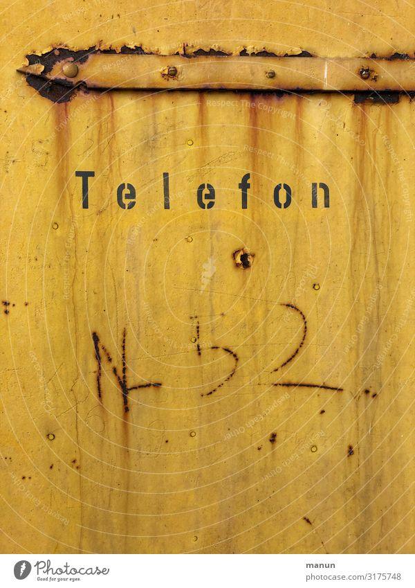 Telefon alt retro Schriftzeichen Kommunizieren Technik & Technologie Telekommunikation Schilder & Markierungen authentisch Zukunft Hinweisschild