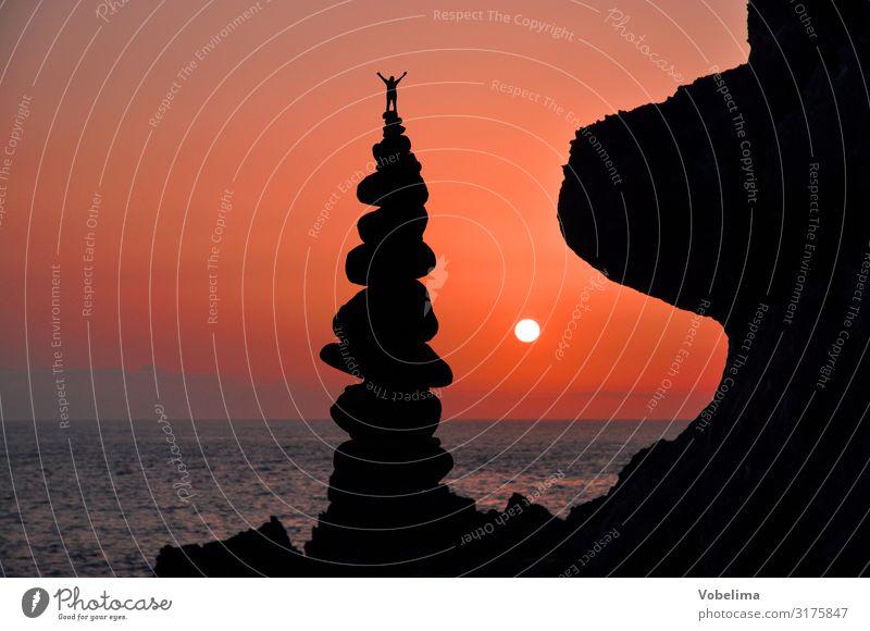 Composing: Auf der Spitze Sonne Berge u. Gebirge Klettern Bergsteigen Erfolg Mensch 1 Landschaft Wasser Wolkenloser Himmel Sonnenaufgang Sonnenuntergang Gipfel