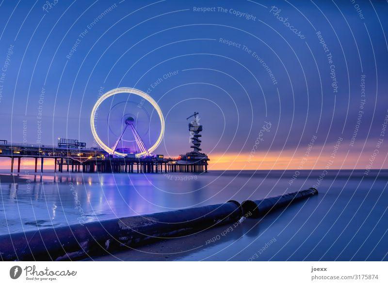 Pier SkyView am Strand von Scheveningen, DenHaag Den Haag Riesenrad Nordsee Langzeitbelichtung Städtereise Himmel Horizont Niederlande Stadt Skyline Leuchtturm
