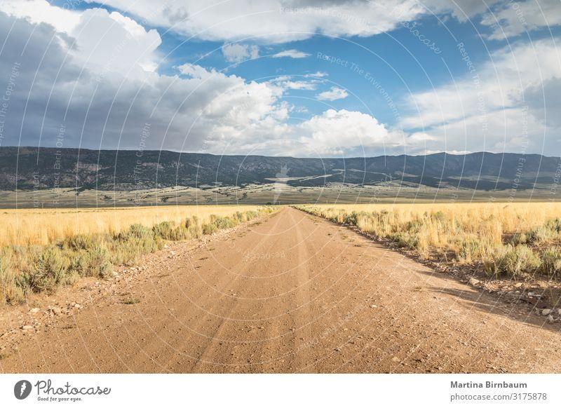 Lange gerade Schotterstraße in Utah mit dramatischen Wolken Dessert Ferien & Urlaub & Reisen Ausflug Freiheit Sommer Berge u. Gebirge Tapete Natur Landschaft