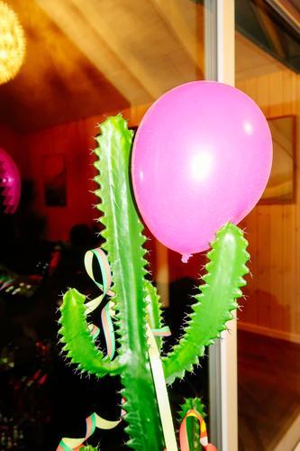 End of the party grün Feste & Feiern Zusammensein rosa Dekoration & Verzierung Fröhlichkeit verrückt gefährlich bedrohlich Luftballon festhalten Zusammenhalt