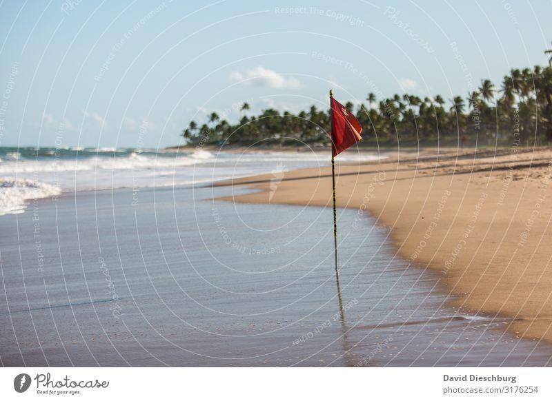 ACHTUNG: Rote Fahne Ferien & Urlaub & Reisen Sommerurlaub Sonnenbad Natur Landschaft Sand Himmel Wolken Frühling Schönes Wetter Wellen Küste Strand Bucht Meer