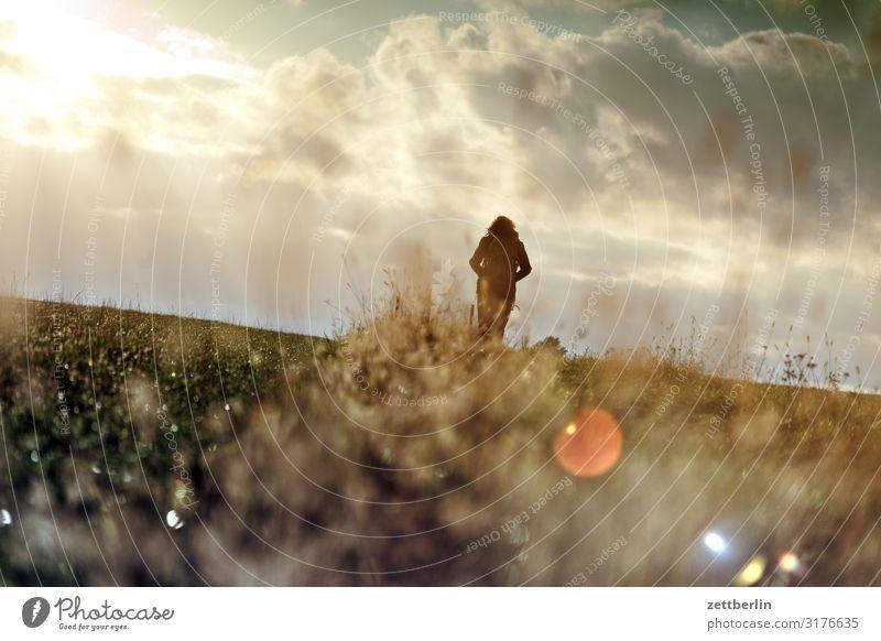Freies Feld Frau Mensch Ferien & Urlaub & Reisen Natur Landschaft Erholung Wolken Einsamkeit Ferne Berge u. Gebirge Herbst Textfreiraum Horizont wandern Rücken