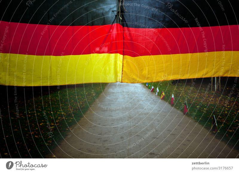 Deutschlandfahne Tiergarten Berlin Deutsche Flagge Fahne Hauptstadt Menschenleer Nationalitäten u. Ethnien Park Textfreiraum Wald Wege & Pfade