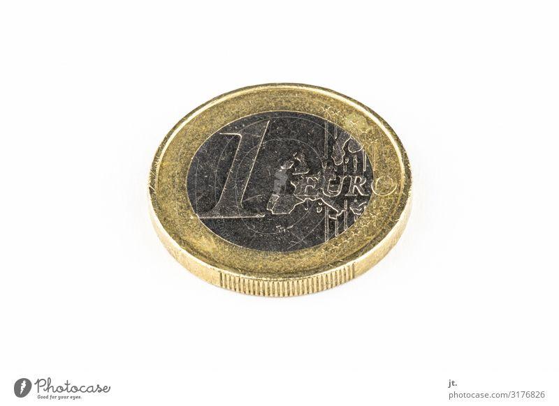 1-Euromünze Geldmünzen Währung authentisch Billig klein reich Business Dekadenz Erfolg Kapitalwirtschaft Freiheit Gesellschaft (Soziologie) kaufen Handel
