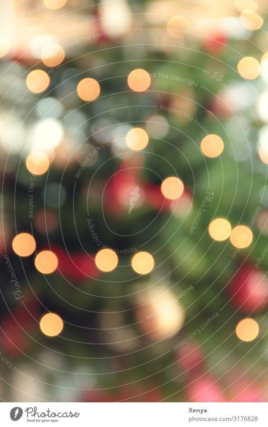 Unscharfe Weihnacht Weihnachten & Advent grün rot Baum gelb Stimmung leuchten Weihnachtsbaum festlich Christbaumkugel Familienfeier