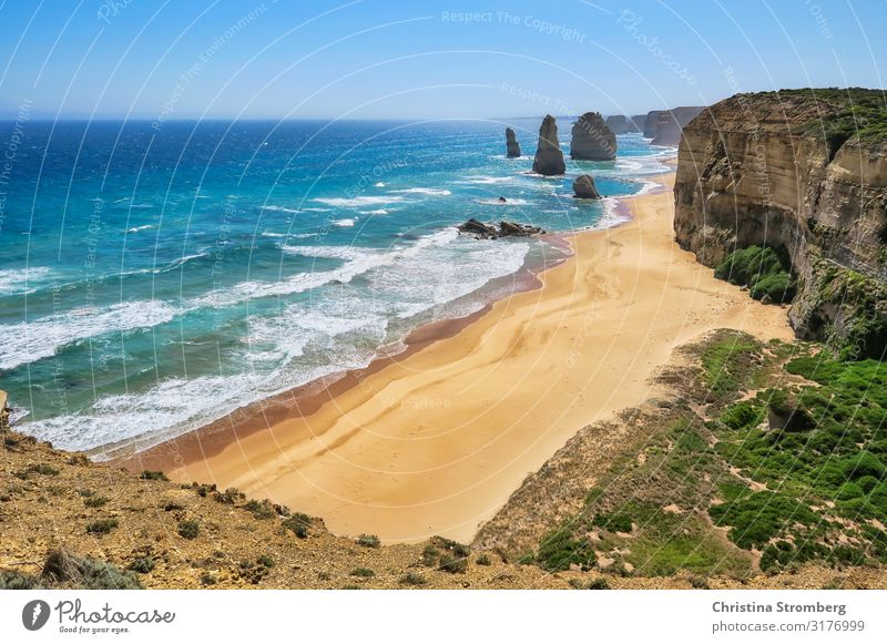 Die Zwölf Apostel Ferien & Urlaub & Reisen Tourismus Ausflug Ferne Strand Meer Natur Landschaft Sand Wasser Wellen Küste Sehenswürdigkeit Glück Australien