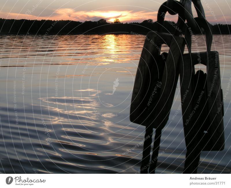 Abend auf dem Müggelsee Wasser Sonne Holz Seil Horizont Großer Müggelsee