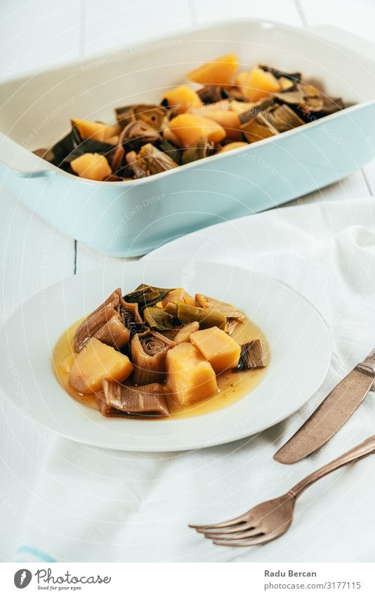 Backkartoffeln und Lauchsuppe Suppe Kartoffeln Gemüse Diät Mittagessen Creme Vegetarische Ernährung heiß organisch Abendessen Essen zubereiten gebastelt Porree