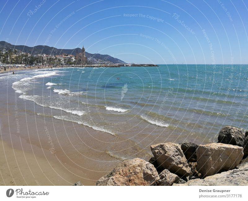 Beach and sea in Sitges Spain overlooking the church Ferien & Urlaub & Reisen Tourismus Ausflug Abenteuer Freiheit Sommer Strand Umwelt Natur Landschaft Wasser