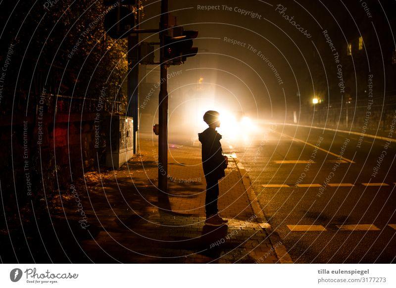 ampelmännchen Kind Mensch Einsamkeit dunkel schwarz Straße Leben kalt Junge orange Ausflug Verkehr leuchten Kindheit stehen gefährlich