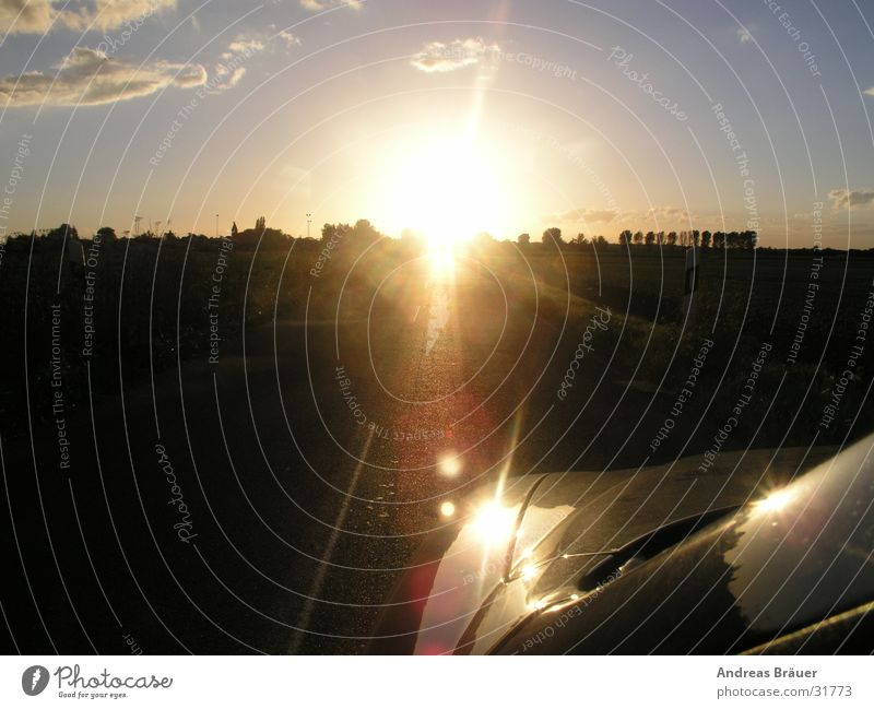 mit Alfa der Sonne entgegen Freiheit PKW Verkehr fahren Abenddämmerung Landstraße
