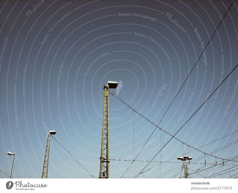 Hochspannung Energiewirtschaft Verkehr Verkehrswege Schienenverkehr Linie Kraft Zufriedenheit Leistung Mobilität Netzwerk Ordnung Elektrizität Oberleitung