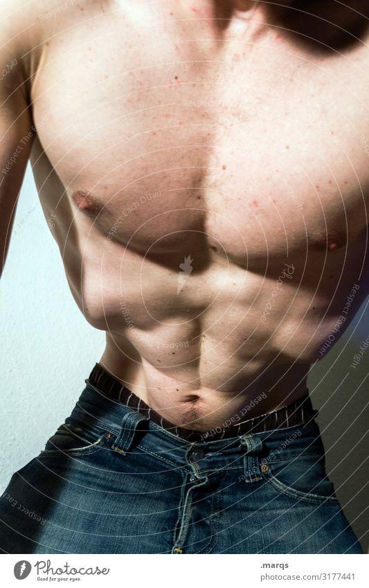 Bodycheck Gesundheit Fitness Sport-Training maskulin Mann Erwachsene Oberkörper Taille 1 Mensch muskulös sportlich selbstbewußt Kraft Jeanshose nackt Anatomie
