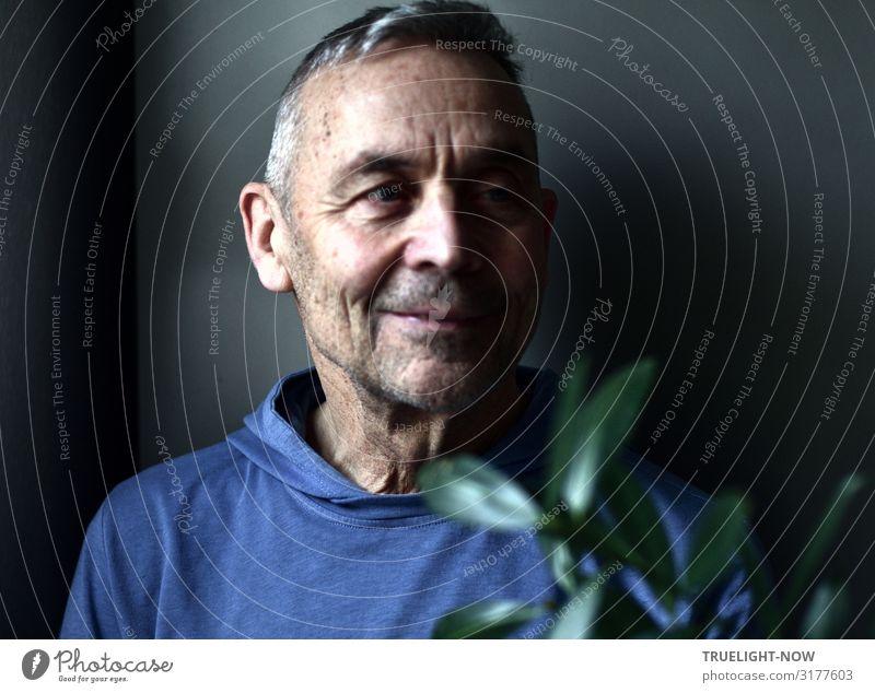 Neuer Selfie-Versuch Männlicher Senior Mann Leben Kopf Gesicht 60 und älter Pullover beobachten Denken genießen Lächeln Blick träumen alt authentisch frech