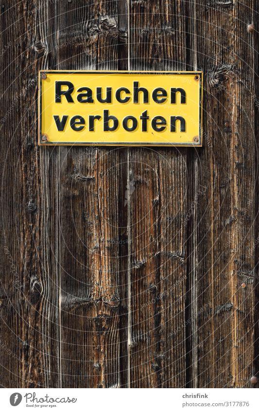 Schild Rauchen verboten Gesundheit Feste & Feiern Arbeitsplatz Büro Zeichen Schilder & Markierungen Hinweisschild Warnschild braun gelb achtsam Rauschmittel