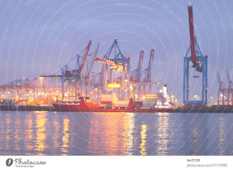 Blaue Stunde in Övelgönne | UT Hamburg Maschine Technik & Technologie Wasser Himmel Herbst Küste Flussufer Hafenstadt Sehenswürdigkeit Schifffahrt