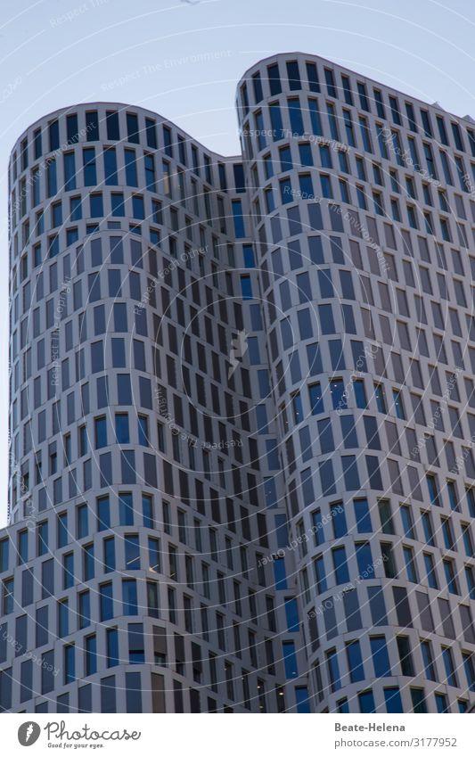 Berlin macht Wellen Arbeitsplatz Stadtzentrum Haus Hochhaus Bauwerk Gebäude Architektur Mauer Wand Fassade Fenster Stein Glas Zeichen bauen ästhetisch