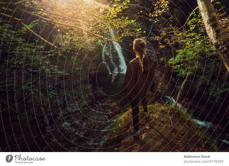 Frau, die in einem kleinen Fluss und Wasserfall steht, der in einem grünen, dunklen, schönen Wald fließt. Natur Aussicht ruhig friedlich Pflanze natürlich