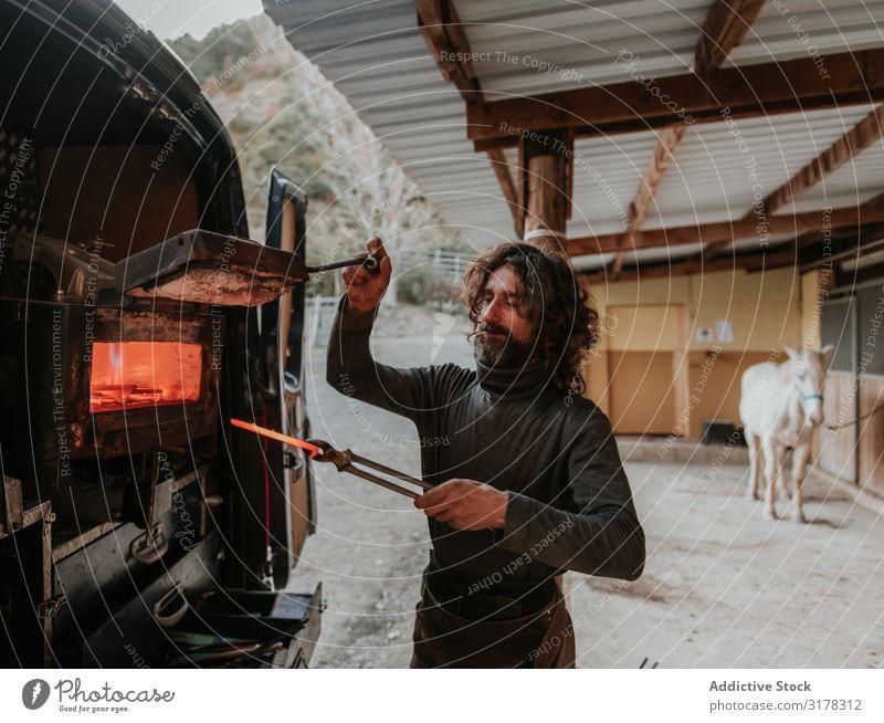 Hufschmied nimmt Hufeisen aus dem Ofen Schmelzofen heiß Pferdestall Ranch PKW Arbeit & Erwerbstätigkeit Handwerk Feuer Mann Erwachsene Metall geschmolzen Eisen