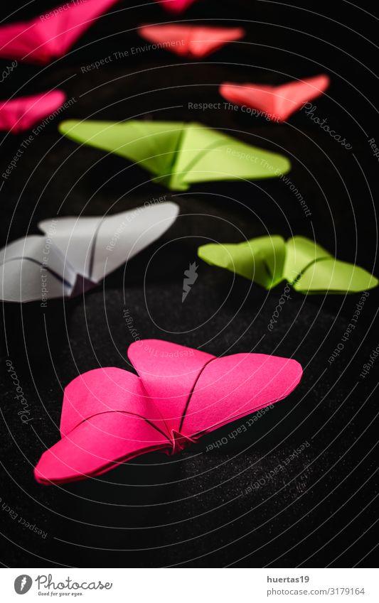 Mehrfarbige Origami-Schmetterlinge von oben Lifestyle Stil Design schön Freizeit & Hobby Spielen Dekoration & Verzierung Tapete Kunst Kultur Papier Spielzeug