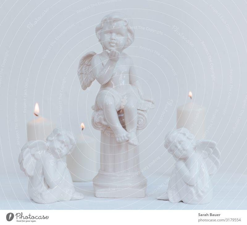 Drei weiße Engel Design ruhig Dekoration & Verzierung Feste & Feiern Weihnachten & Advent Trauerfeier Beerdigung Kunst Skulptur Kerze Sammlung beobachten Denken