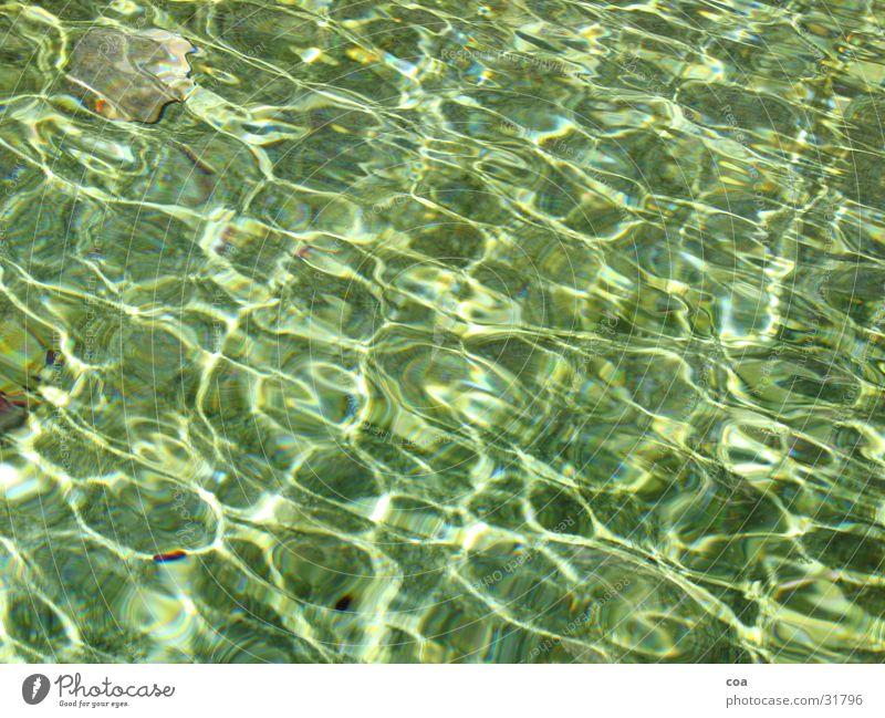 Wasser Sonne grün Stein glänzend Fluss türkis Bach