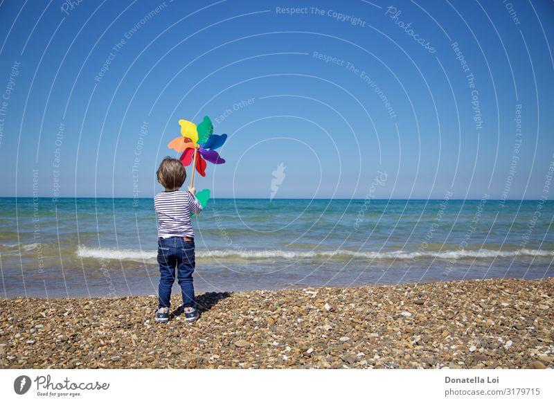 Kind von hinten hält ein buntes Windrad vor das Meer Freude Sommer Strand Mensch maskulin Junge Kindheit Körper 1 3-8 Jahre Umwelt Landschaft Wasser Himmel
