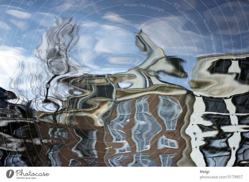 versunkene Stadt| unscharf blau Wasser weiß Baum Haus Winter Bewegung außergewöhnlich braun Fassade grau einzigartig Wandel & Veränderung Irritation skurril