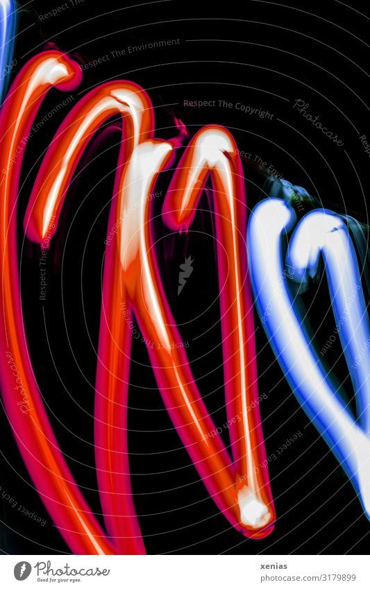 Drei hängende Herzen Nachtleben Party Kabel Seil Technik & Technologie Energiewirtschaft Neonlicht Veranstaltung Show Kitsch Krimskrams leuchten blau rot