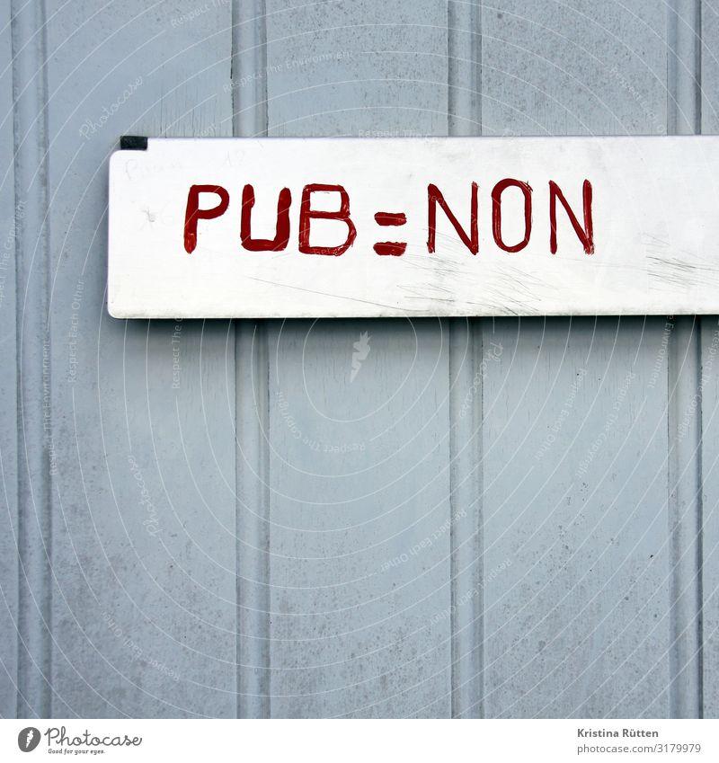 pub = non Tür Briefkasten grau rot Ordnung Werbung keine nein postwurfsendung Prospekt Französisch handgeschrieben nagellack Handschrift handschriftlich