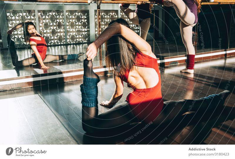 Zwei konzentrierte Frauen, die sich in der sonnigen Klasse vor dem Spiegel aufwärmen. Tänzerinnen strecken Studioaufnahme üben Sportbekleidung Partner Dehnung