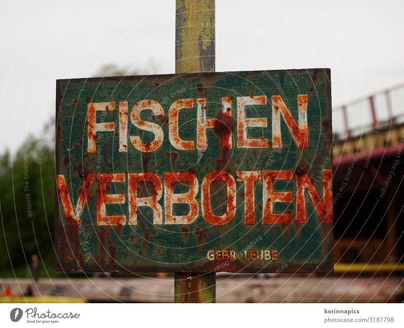 Fischen verboten Angeln Fischereiwirtschaft Schilder & Markierungen Hinweisschild Warnschild Freizeit & Hobby Kontrolle Tradition Verbote Farbfoto Nahaufnahme