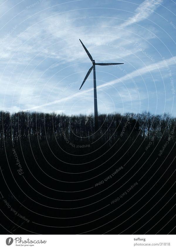 Windrad Wald einzeln Industrie Erneuerbare Energie Kraft Himmel Graffiti