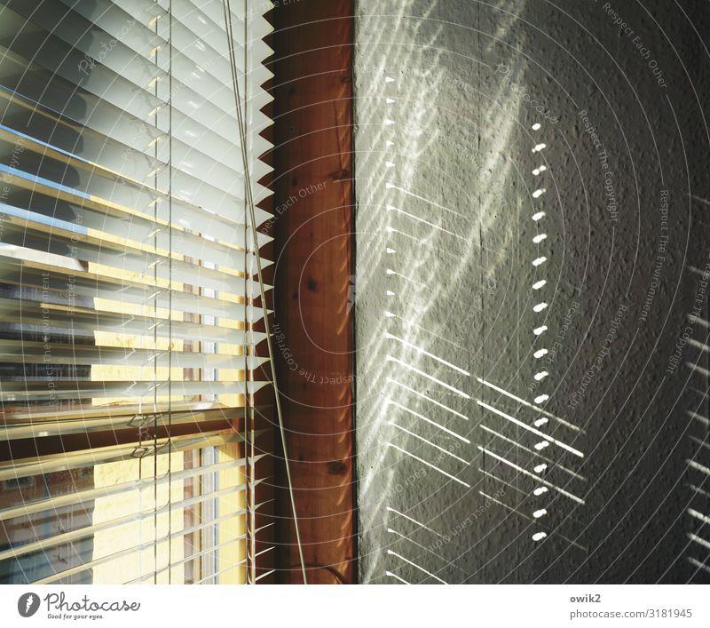 Leuchtfeuer Mauer Wand Fenster Sichtschutz Lamellenjalousie Jalousie Fensterrahmen Holz Kunststoff leuchten Linie parallel Farbfoto Gedeckte Farben