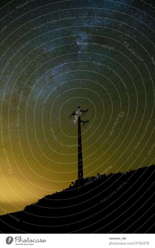 Strom für die Milchstraße Umwelt Natur Urelemente Erde Nachthimmel Stern ästhetisch schön gelb orange Glück Begeisterung Gelassenheit geduldig ruhig klug Wunsch