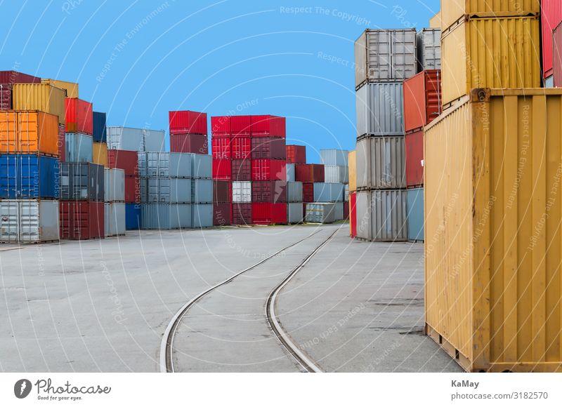 Hafen Deutschland norddeutsch Bremen Europa Container Schienenverkehr Gleise Farbe Mobilität Ordnung Güterverkehr & Logistik Ware mehrfarbig Stapel viele