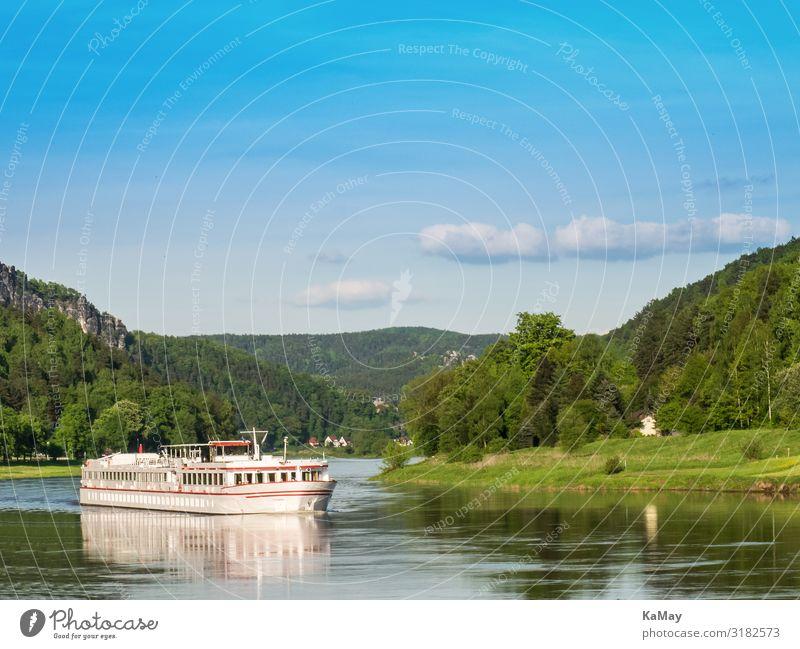 Urlaub in der Sächsischen Schweiz Ferien & Urlaub & Reisen Tourismus Ausflug Kreuzfahrt Sommer Sommerurlaub Umwelt Natur Landschaft Himmel Wald Hügel