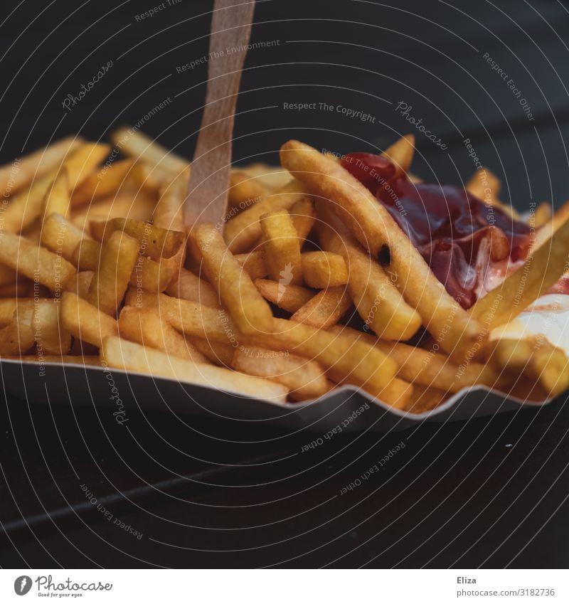 Pommes Schranke Lebensmittel Ernährung lecker Fett ungesund Fastfood Pommes frites Imbiss Ketchup knusprig Mayonnaise