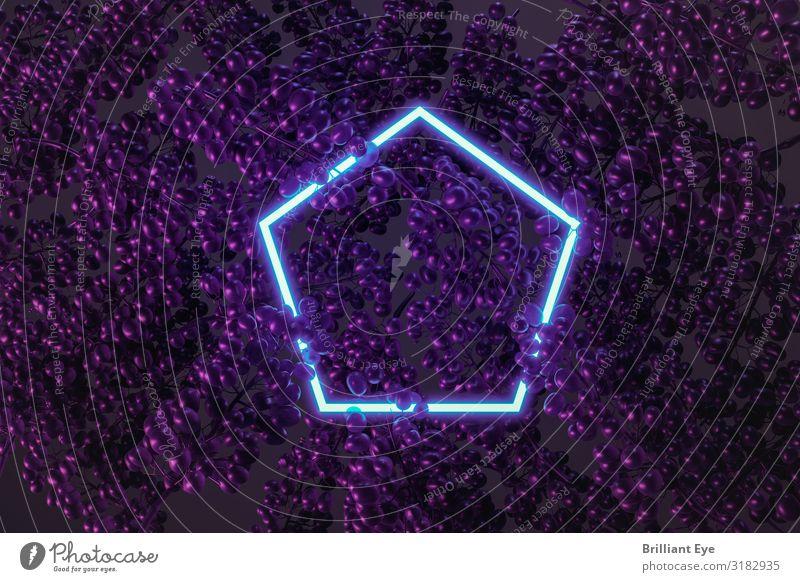 blaues fünfeckiges Neonlicht, das von Trauben bedeckt ist. Flacher Schnitt von minimalem Fruchtstil-Konzept 3d abstrakt Hintergrund Früchte Postkarte farbenfroh