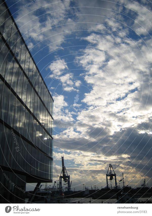 Hamburg Hafen 2 Hafencity Kran Wolken Architektur Wasser Himmel